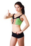 Happy young woman show thumb up after sport Royalty Free Stock Photo