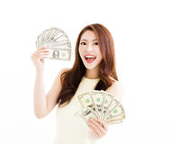 Happy young  woman showing the money Royalty Free Stock Photo