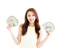Happy young  woman showing the money Royalty Free Stock Photos