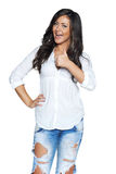 Happy young woman showing thumb up Royalty Free Stock Image