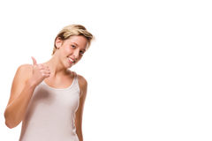 Happy young woman showing thumb up Royalty Free Stock Images