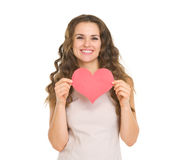 Happy young woman showing valentines day cards Royalty Free Stock Photos
