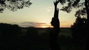 Happy young woman silhouette against sky lifts hands up in air stock video