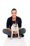 Woman sitting dog Royalty Free Stock Image