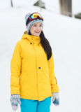 Happy young woman in ski goggles outdoors Royalty Free Stock Images