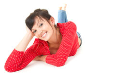 Happy young woman smiling, full length Stock Photos