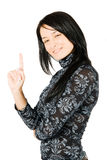 Happy young woman smiling have an great idea Royalty Free Stock Photography