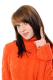 Happy young woman specifying top  at copy space. On a white background Stock Image