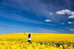Happy young woman on spring field, ecology. Happy young woman with hands raised on spring field of yellow flowers, rape. Blue sunny sky. Concepts of success royalty free stock photo