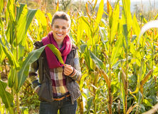 Happy young woman standing in cornfield Stock Photo
