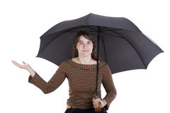 Happy young woman standing  umbrella Royalty Free Stock Image