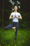 Happy young woman standing in yoga pose vrikshasana on the grass Stock Images