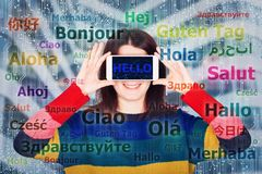 Learning languages. Happy young woman student holding smartphone close to eyes having fun learning and different languages. Speaking many languages easier using vector illustration