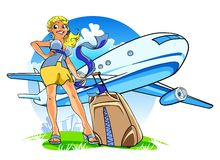 Happy young woman with a suitcase Stock Photos