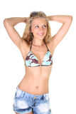 Happy young woman in summer clothes Stock Images