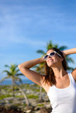 Happy young woman on summer tropical caribbean travel Royalty Free Stock Photography