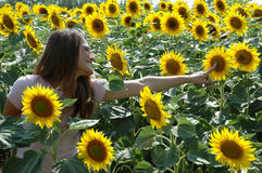 Happy young woman in a sunflower field Stock Images