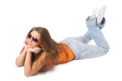 Happy young woman in sunglasses Royalty Free Stock Images