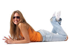 Happy young woman in sunglasses Royalty Free Stock Photos