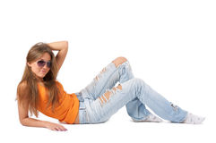Happy young woman in sunglasses Stock Photos