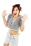Happy young woman surprised Royalty Free Stock Photo
