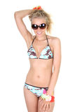 Happy young woman in swimsuit and sunglasses Stock Photo
