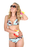Happy young woman in swimsuit and sunglasses Royalty Free Stock Photo