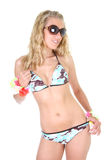 Happy young woman in swimsuit and sunglasses Royalty Free Stock Photography