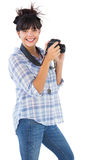 Happy young woman taking picture with her camera Stock Photography