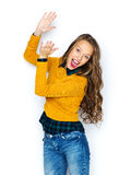 Happy young woman or teen girl applauding Stock Images