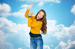 Happy young woman or teen girl applauding Royalty Free Stock Images
