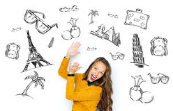 Happy young woman or teen girl applauding Royalty Free Stock Image