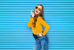 Happy young woman or teen girl in casual clothes Royalty Free Stock Photo