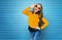 Happy young woman or teen girl in casual clothes Royalty Free Stock Photography
