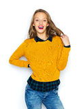 Happy young woman or teen girl in casual clothes Stock Photos