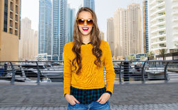 Happy young woman or teen girl in casual clothes Royalty Free Stock Images