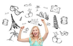 Happy young woman or teen girl celebrating victory Royalty Free Stock Image
