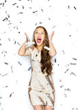 Happy young woman or teen girl in fancy dress Stock Photography