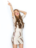 Happy young woman or teen girl in fancy dress Royalty Free Stock Photos