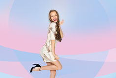 Happy young woman or teen girl in fancy dress Stock Images