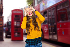 Happy young woman or teen girl having fun Royalty Free Stock Photo