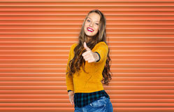 Happy young woman or teen girl showing thumbs up Stock Photography