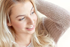 Happy young woman or teenage girl at home Royalty Free Stock Photography