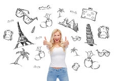 Happy young woman or teenage girl in white t-shirt. People, tourism, vacation and summer holidays concept - happy smiling young woman or teenage girl in white t Stock Photography
