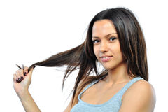 Happy young woman touch hair Royalty Free Stock Photo