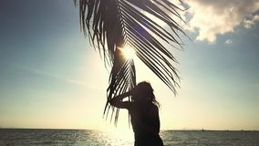 Happy young woman touching palm leaf and the sun. Woman enjoying bright tropical sun with lens flare effects in slow. Motion. 1920x1080, hd stock video footage