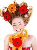 Happy young woman with tousled hair. Stock Photo