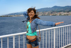 Happy young woman in travel Royalty Free Stock Photography