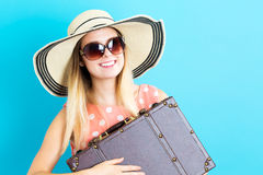 Happy young woman with travel theme Stock Photography