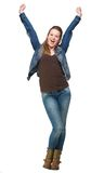 Happy Young Woman with Two Hands in the Air Stock Photos